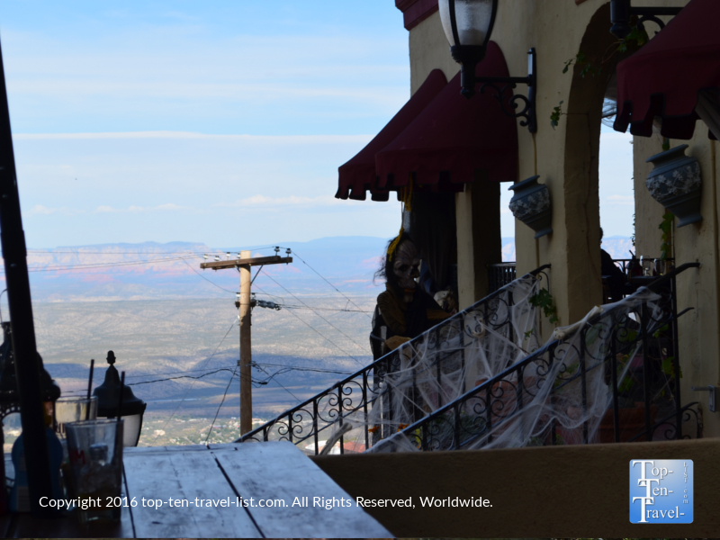 Nice Halloween decor and great views from The Asylum Restaurant in Jerome Arizona