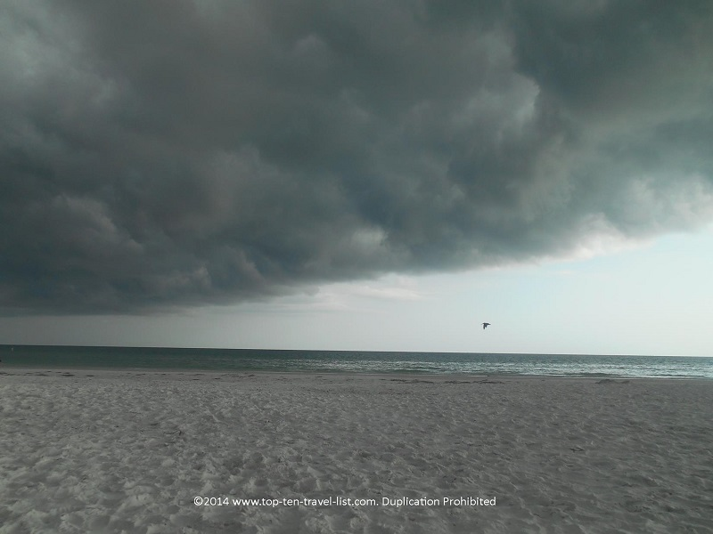 Minutes before a major storm rolled into Siesta Key Beach