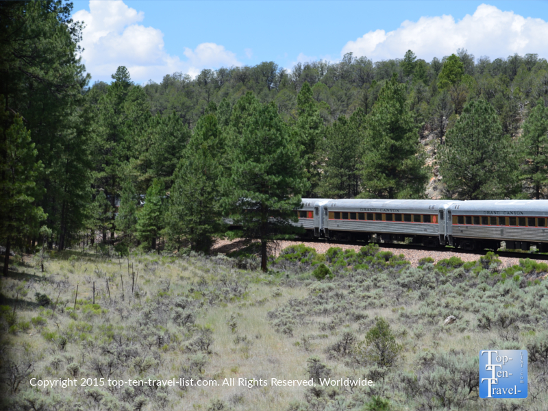 The Grand Canyon Railway traveling through the high altitude pines of Northern Arizona