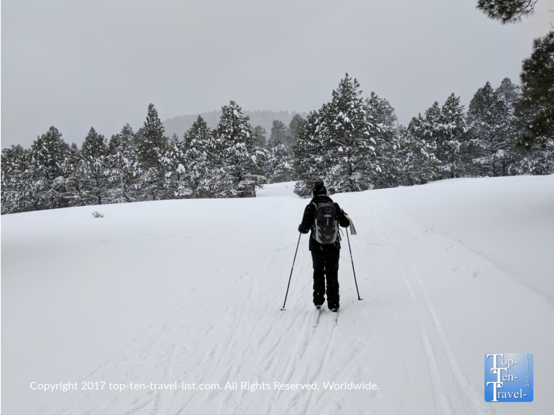 Cross country skiing at the Arizona Nordic Center in Flagstaff, Arizona