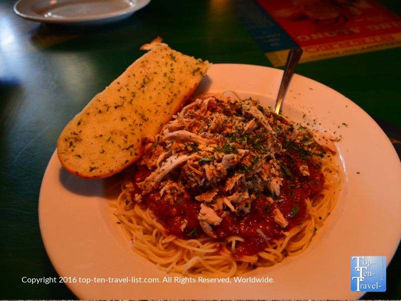 Bowl of pasta at Oregano's in Flagstaff, Arizona