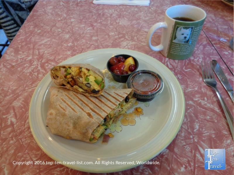 Breakfast Burrito at the Toasted Owl in Flagstaff, Arizona
