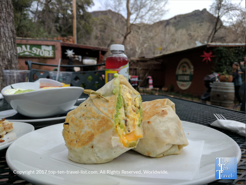 Healthy Breakfast Burrito at Indian Gardens in Sedona AZ