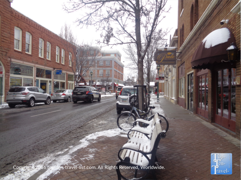 Downtown Flagstaff on a snowy winter day