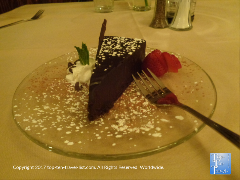 Flourless chocolate cake at Bella Vita in Sedona AZ