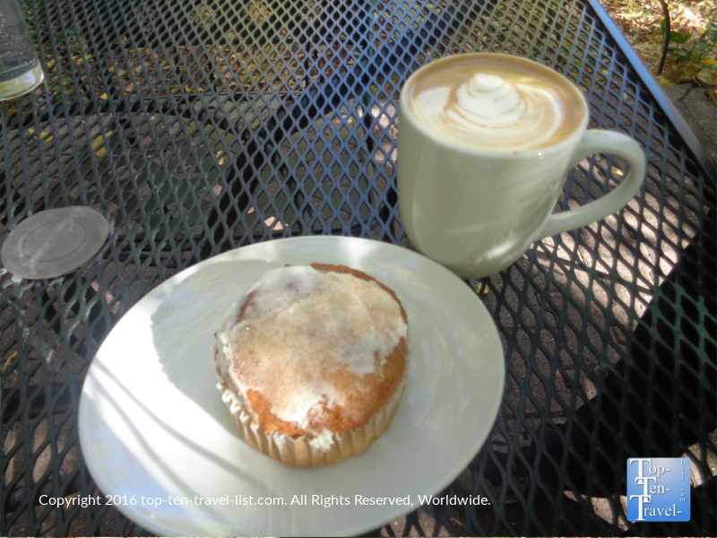 Pumpkin muffin and espresso drink at Indian Gardens in Flagstaff, Arizona