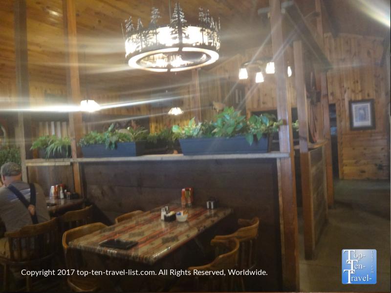 Rustic interior of Horsemen's Lodge in Flagstaff AZ