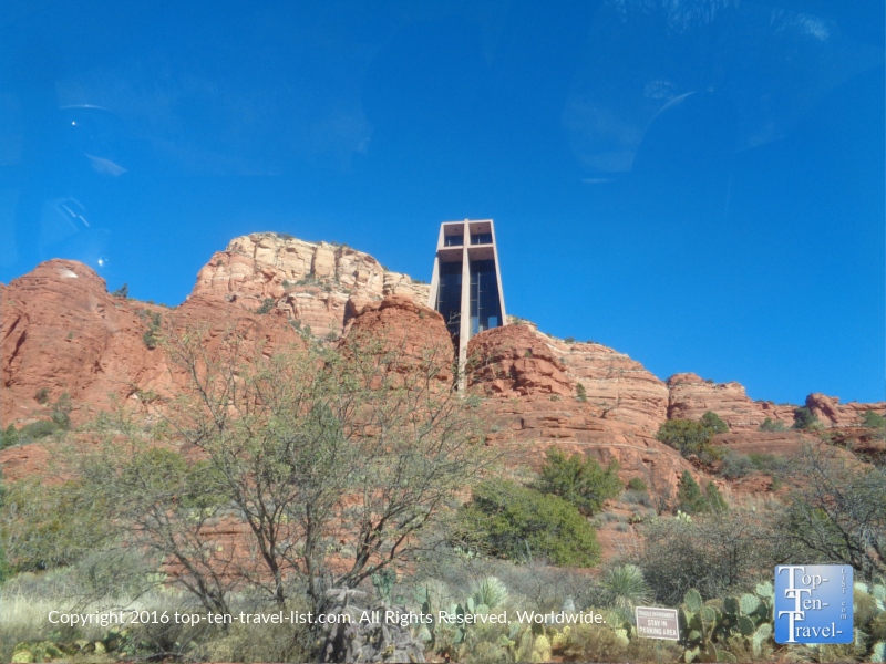 Sedona's Chapel of the Holy Cross surrounded by red rock formations