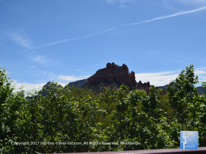Snoopy rock formation from Creekside restaurant in Sedona AZ