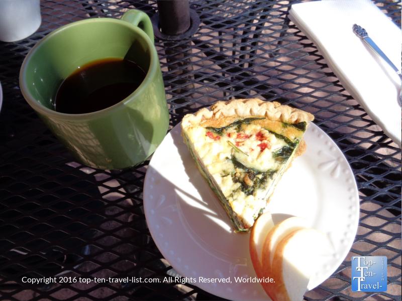 Americano and quiche at Cupper's Coffeehouse in Prescott, Arizona