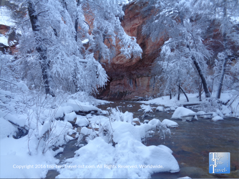 Creek snow and red rock views along the West Fork trail in Sedona