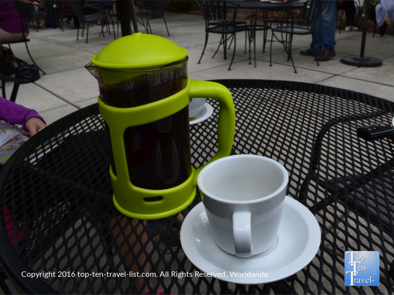 Delicious French Press coffee at Wild Iris in Prescott, Arizona