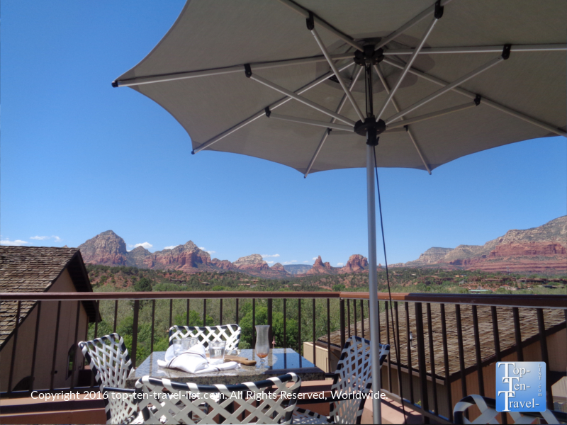 Pretty patio seating at The Hudson in Sedona AZ