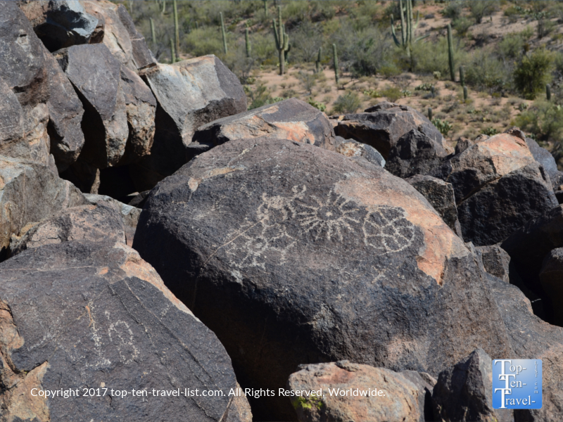 Ancient pictographs at Saguaro National Park in Tucson AZ