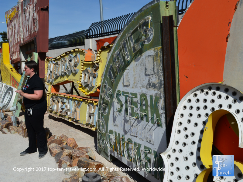 The historic Green Shack sign at the Neon Museum in Las Vegas NV
