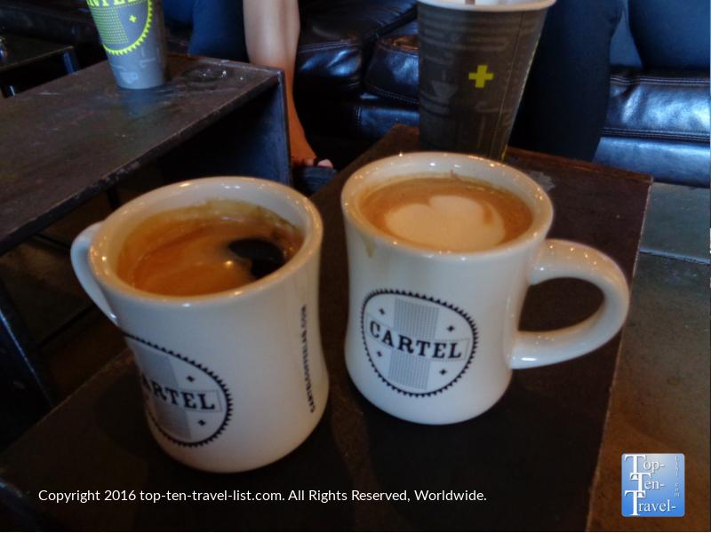 A delicious Americano and Mocha at Cartel Coffee Lab in Tempe, Arizona