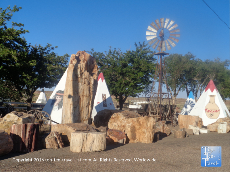 """The world's largest petrified tree"" at Geronimo Trading Post in Northern Arizona"