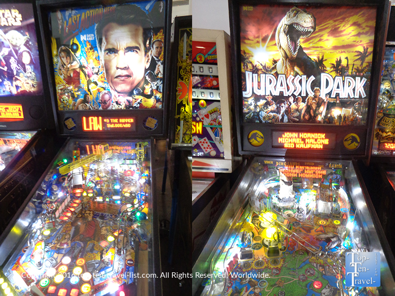 Jurassic Park and Terminator pinball machine at the Pinball Hall of Fame in Vegas