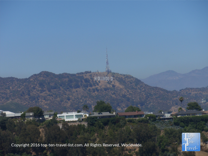 The Hollywood sign as seen from a trail at Runyon Canyon