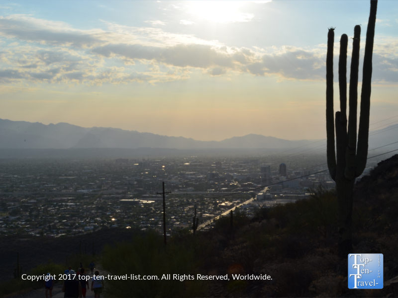 Enjoying peaceful sunrise scenery while hiking Tumanoc Hill in Tucson