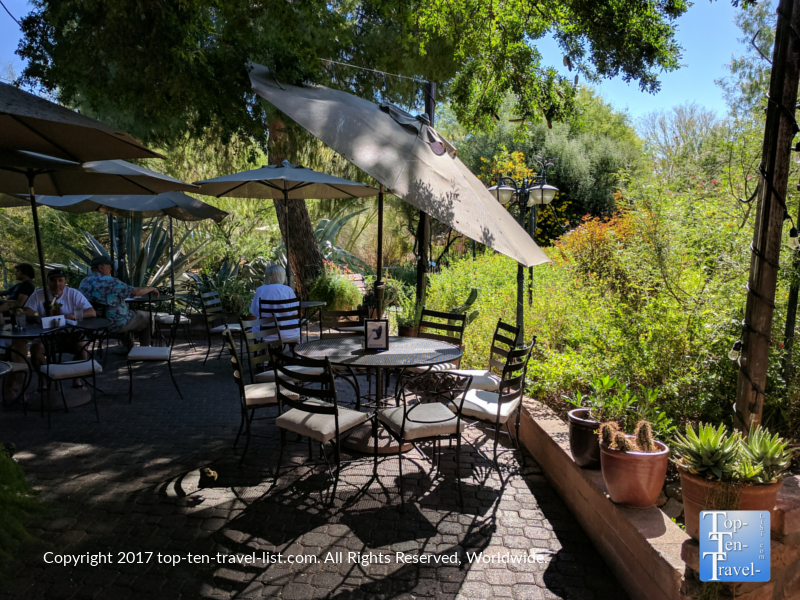 Shady garden patio at Tohono Chul Garden Bistro in Tucson AZ