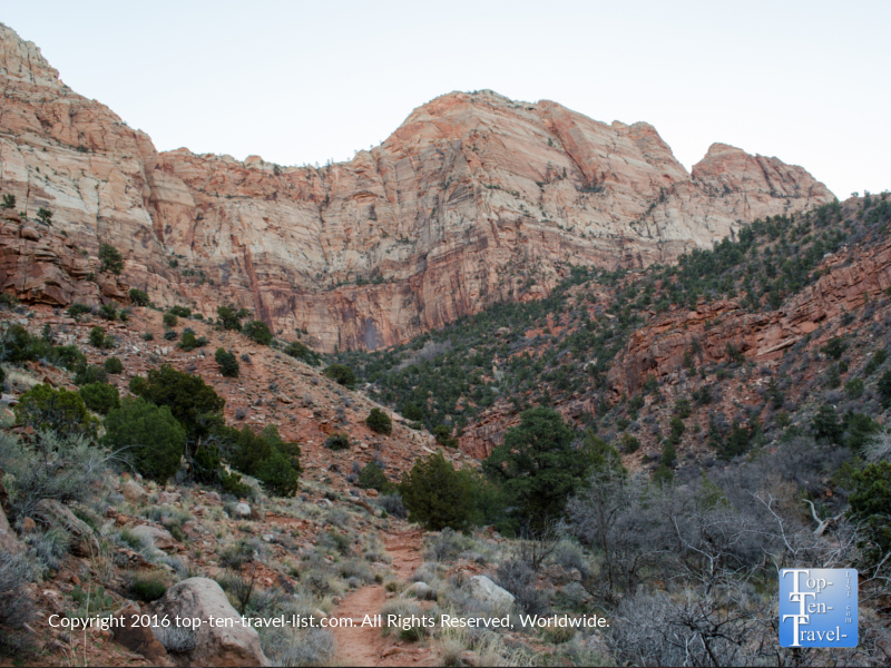 Gorgeous views of the red rocks along the Watchman Trail at Zion National Park