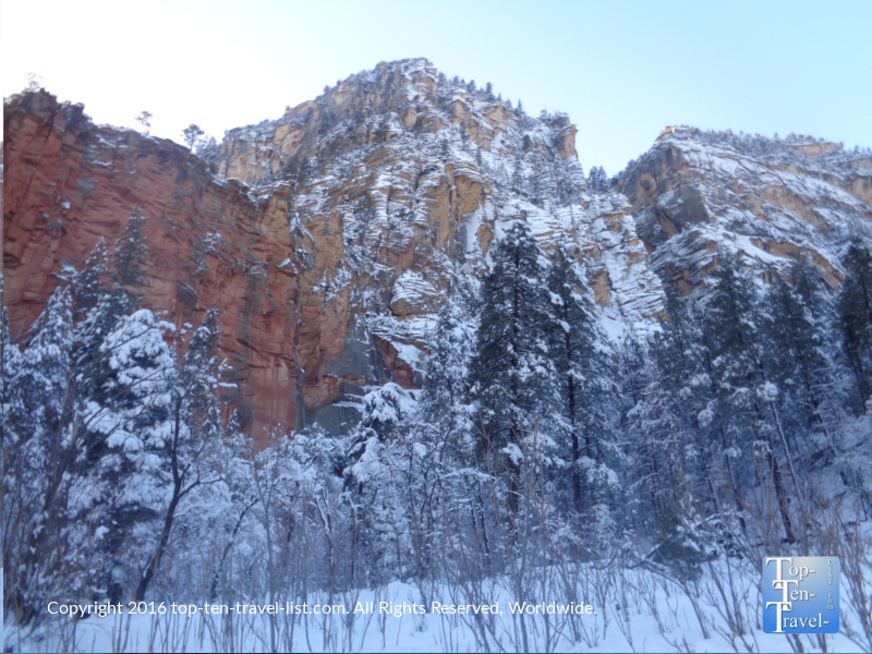 Red rock surrounded by snow on the West Fork Trail in Sedona