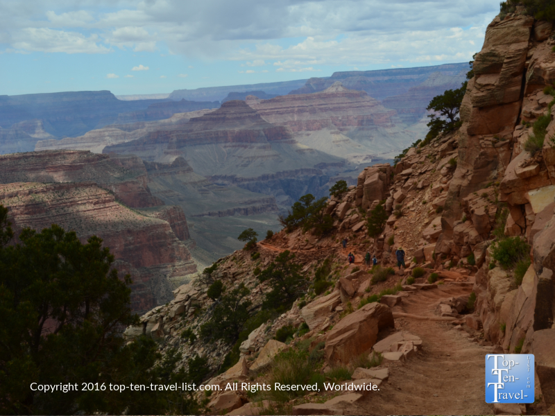 Walking down the trail along the Kalibab trail at the Grand Canyon