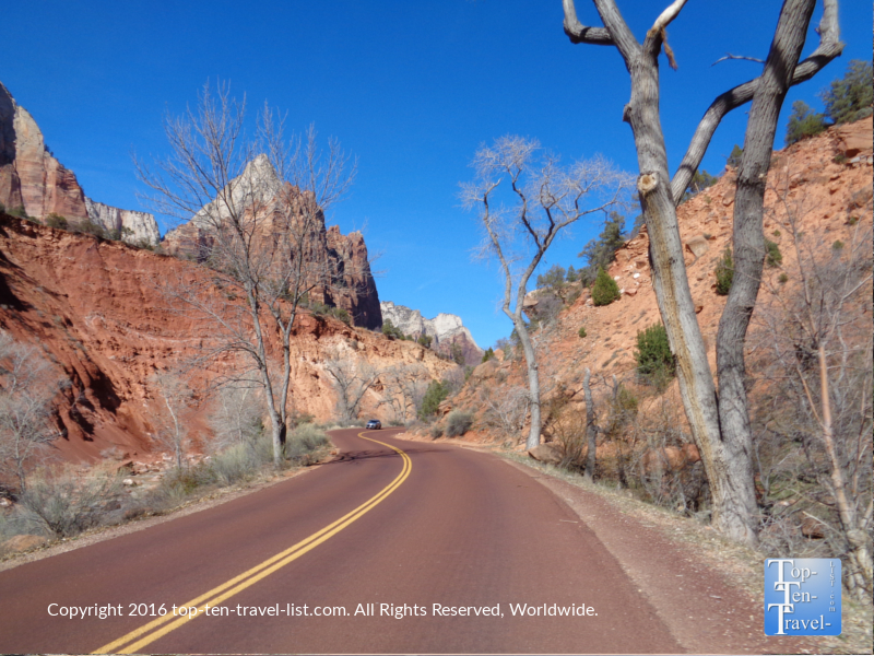 Zion Canyon scenic drive in winter