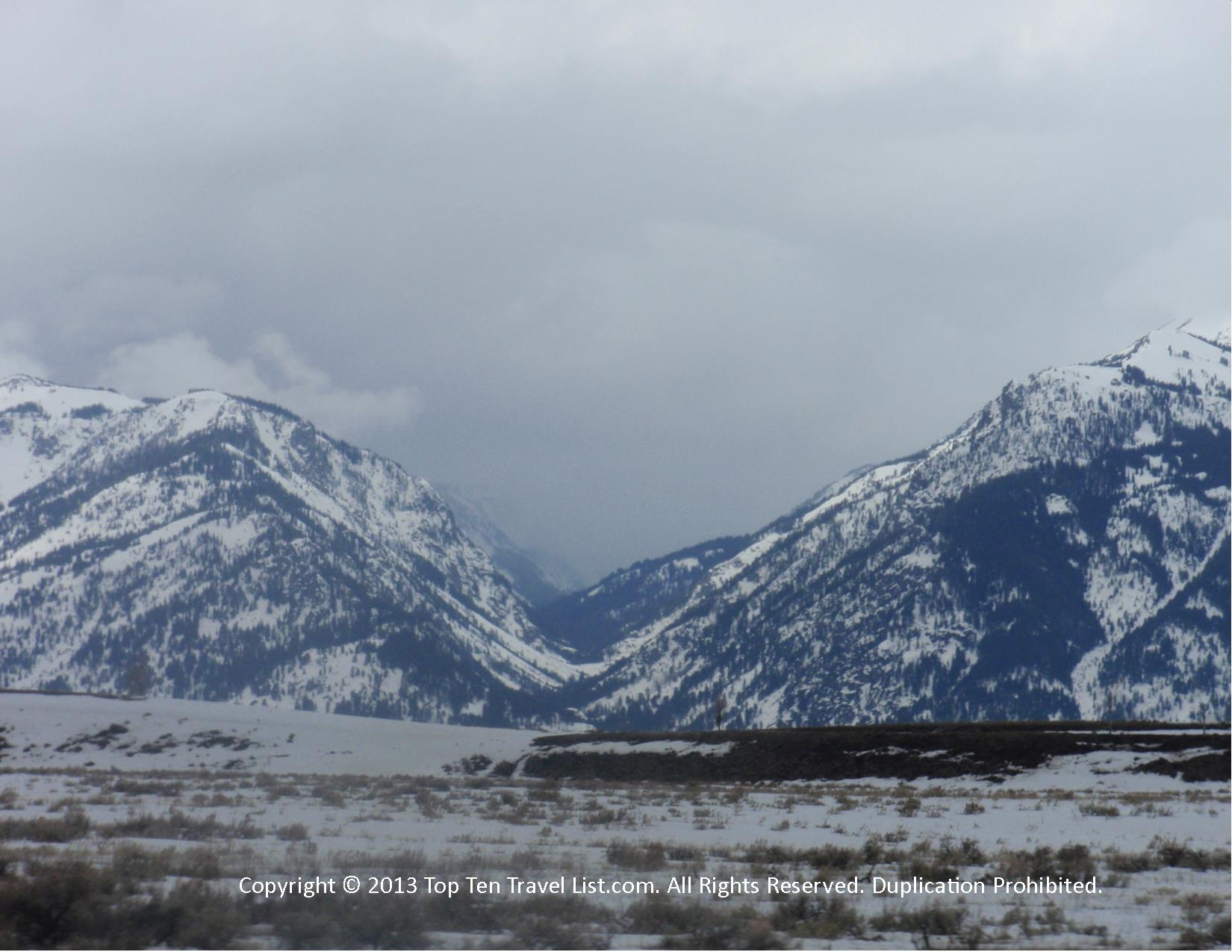 Gorgeous snow capped mountains at the Grand Tetons