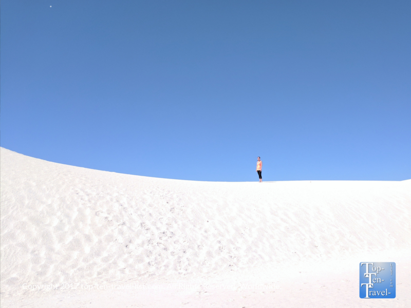 The rare bright white gypsum sand dunes of White Sands National Monument in New Mexico