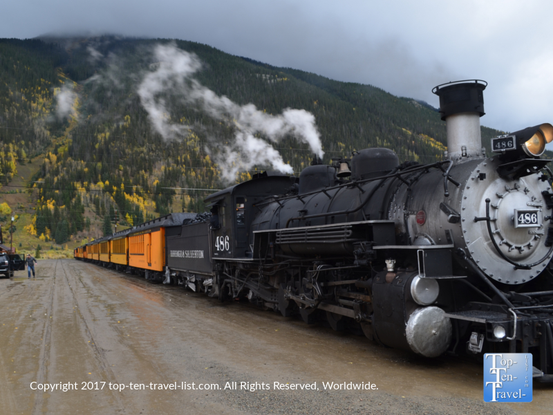 The Durango & Silverton Narrow Gauge train leaving Silverton, Colorado