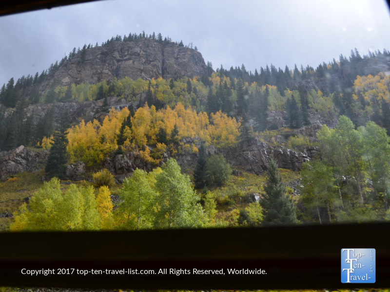 Gorgeous fall colors seen from the Durango & Silverton Narrow Gauge Railroad train ride