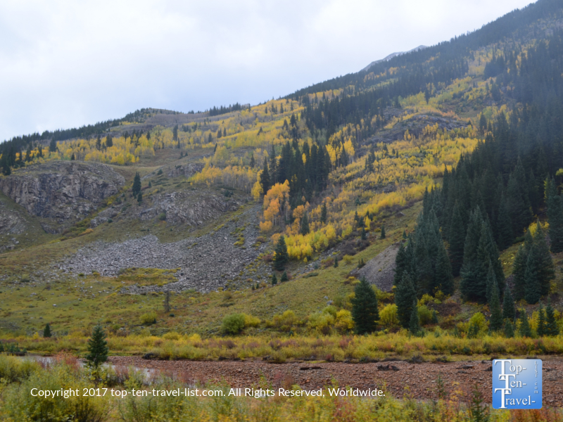 Fall foliage covering the mountains near Silverton, Colorado
