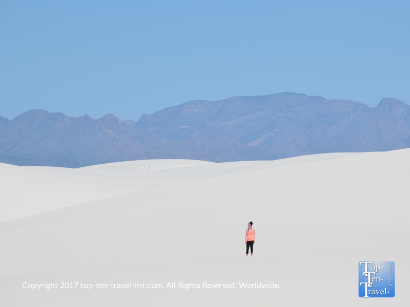 Lost in the bright white gypsum sand dunes of White Sands National Monument in New Mexico