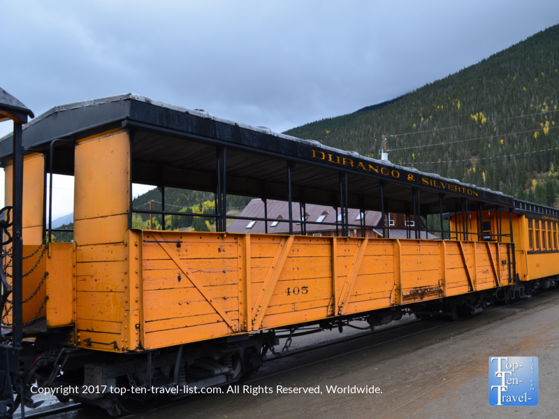 Open air gondola on the Durango and Silverton Narrow Gauge train ride