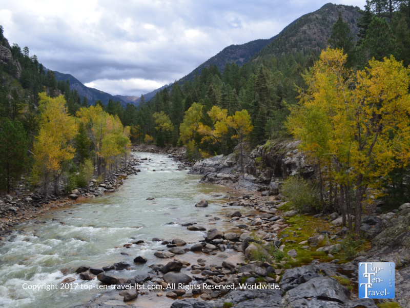 Gorgeous views of the Animas River in fall from the Durango & Silverton Narrow Gauge train ride