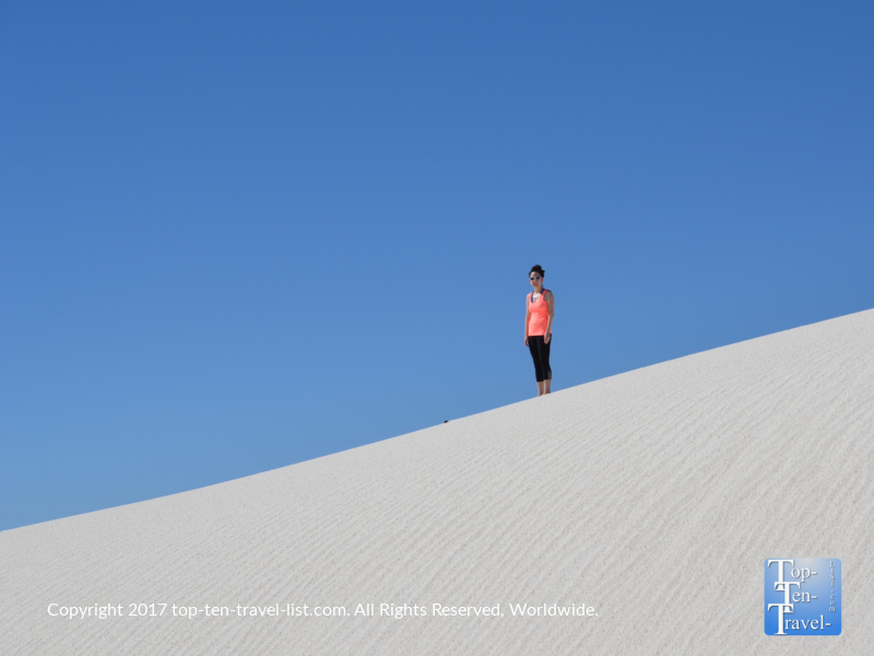 Standing atop a sand dune at White Sands National Monument in New Mexico