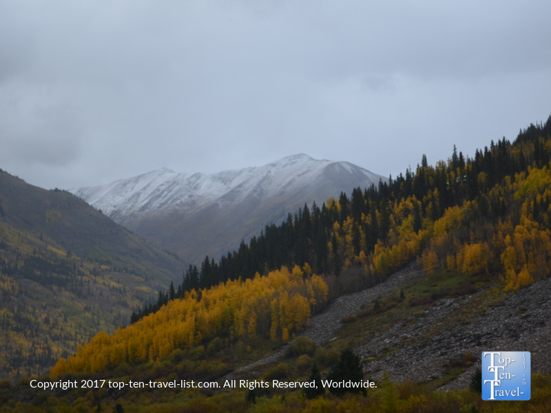 Snow capped peaks and fall foliage near Silverton, Colorado