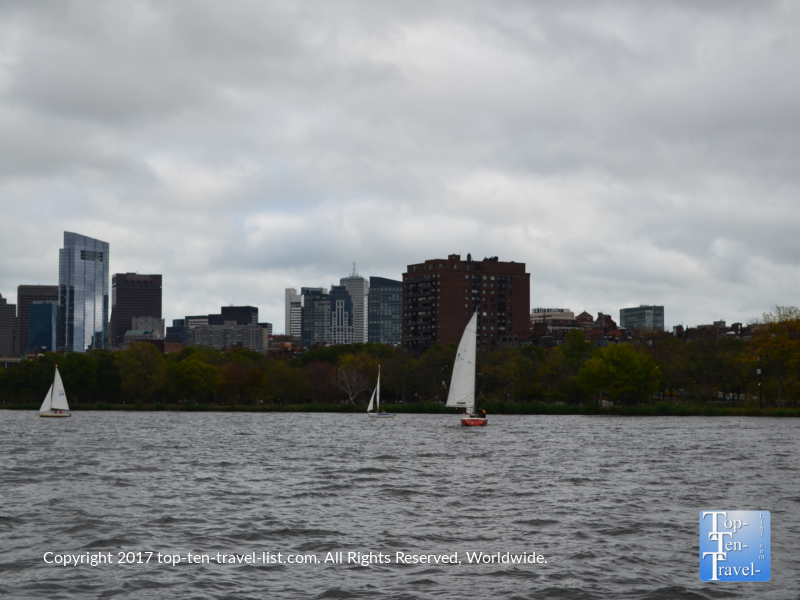 Sailboat on the Charles River in Boston, MA