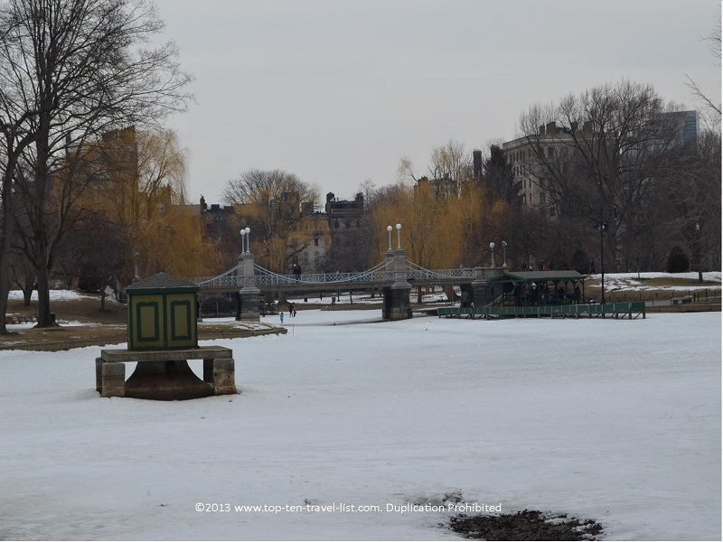Boston Public Garden in winter
