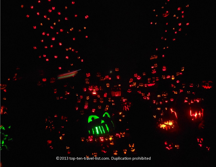 1000s of jack o'lanterns at the Jack O'Lantern Spectacular in Providence, RI