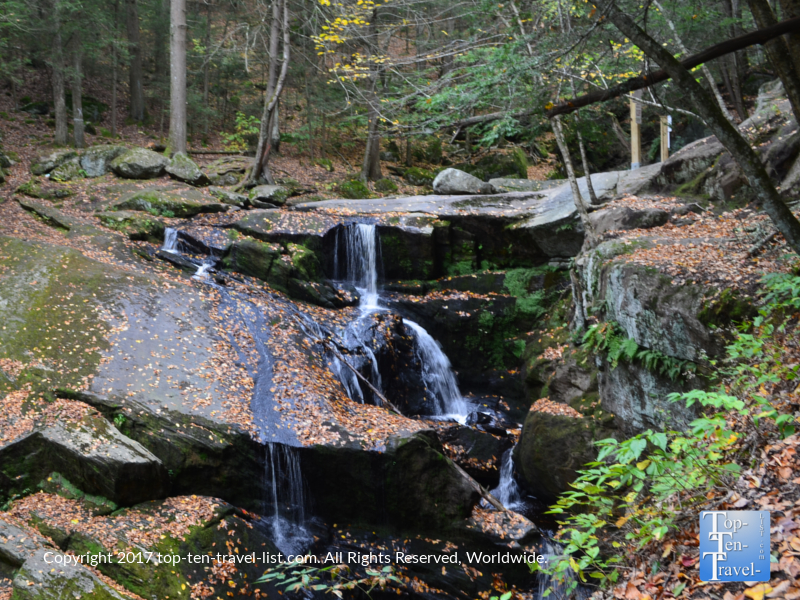 Waterfall along the Enders Falls trail in Granby, Connecticut