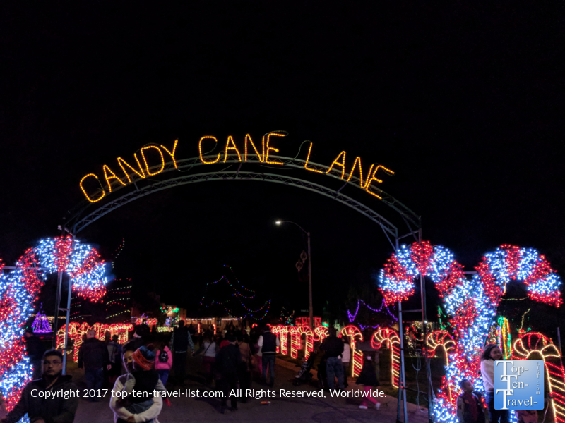 Candy cane lane at the Winterhaven Festival of Lights in Tucson