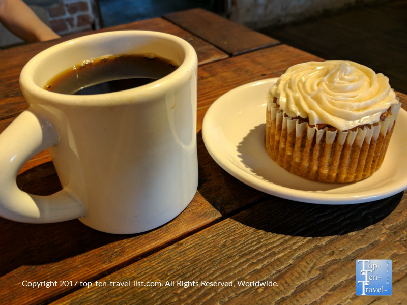 Delicious coffee and a carrot cake muffin at Exo Roast in Tucson, Arizona
