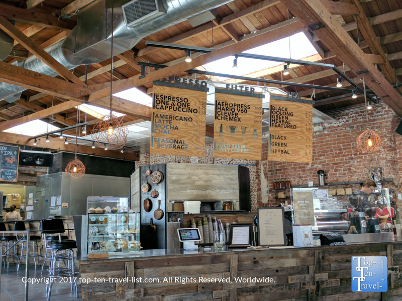 Cool interior design at Cartel Coffee Lab in downtown Tucson, Arizona