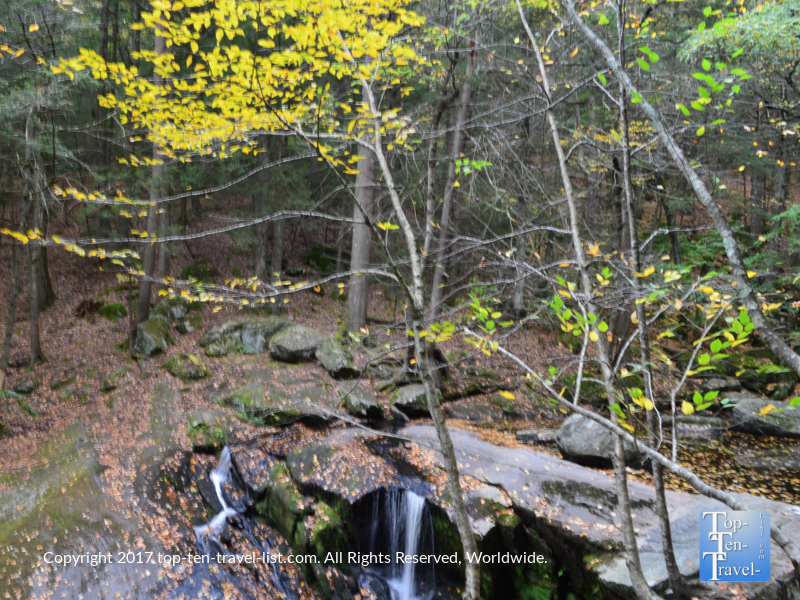 Fall-foliage-surrounding-the-Enders-Falls-waterfall-in-Connecticut