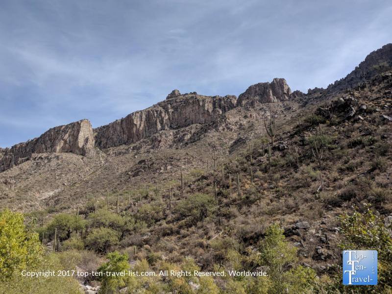 Beautiful mountain views at Sabino Canyon in Tucson, Arizona