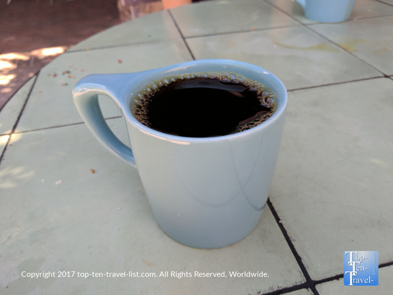 Great house coffee at Presta Coffee Roasters at Mercado San Agustin in Tucson, Arizona