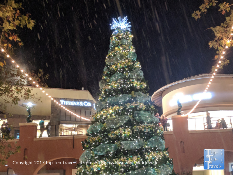 Snowfall at La Encatada mall in Tucson, AZ